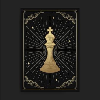 König oder kaiser. magische okkulte tarotkarten, esoterischer boho spiritueller tarotleser, magische kartenastrologie, zeichnen von spirituosen
