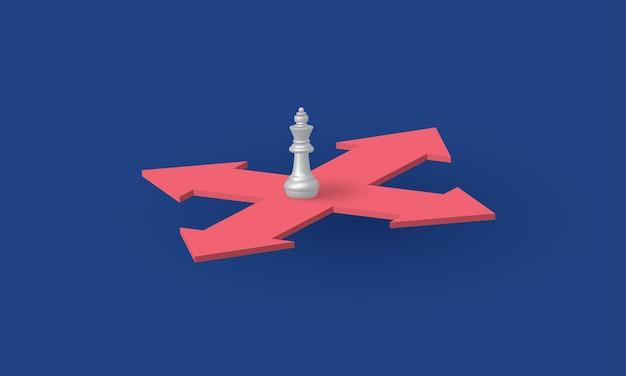 König schach, der die richtung wählt entscheidungsgeschäft risikomanagement konzeptinspirationsgeschäft