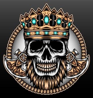König schädel isoliert auf schwarz