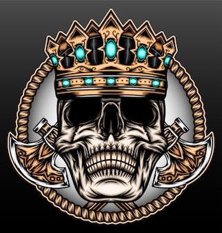 König schädel mit axt isoliert auf schwarz