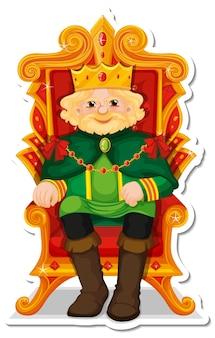 König sitzt auf thron-cartoon-charakter-aufkleber