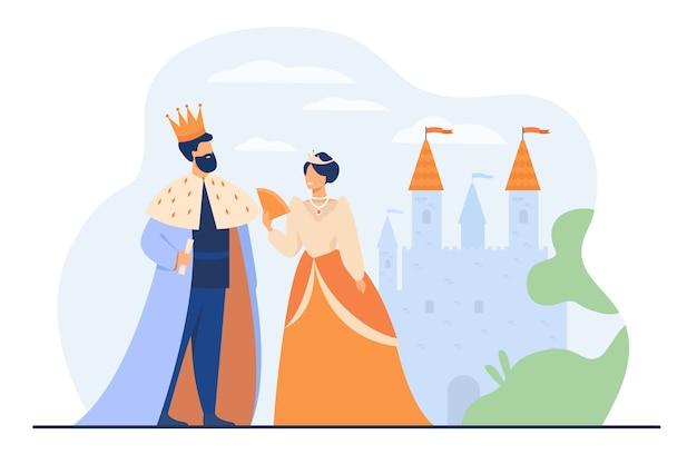 König und königin, die vor der flachen vektorillustration der burg stehen. karikaturmonarchen als symbol der königlichen führung. konzept der regierungsbehörde, der monarchie und der aristokratie