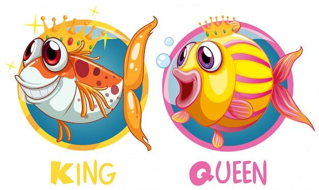 König und königin fischen auf runden abzeichen