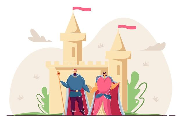 König und königin händchen haltend vor schloss