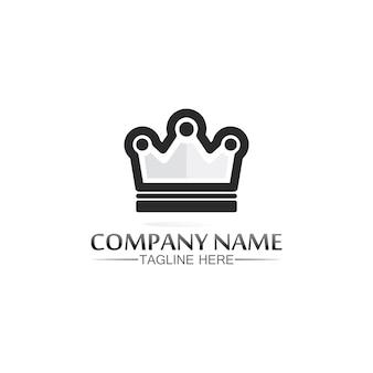 König und königin logo. kronenlogo-schablonenikonenillustrationsentwurf
