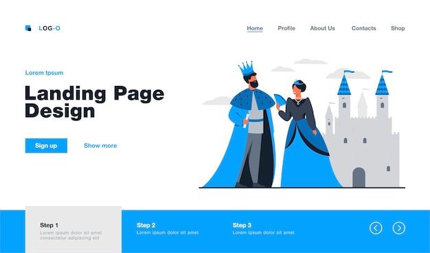 König und königin stehen vor der flachen illustration des schlosses
