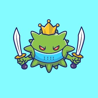 König virus hält schwerter illustration. corona maskottchen zeichentrickfigur. viruskonzept isoliert