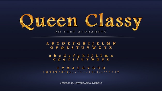 Königin-klassisches goldtext-alphabet
