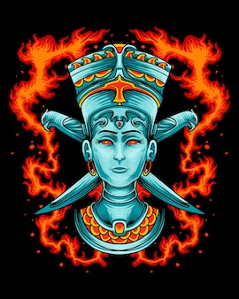 Königin von ägypten mit adlermesser-logo