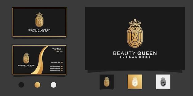 Königinschönheitslogo mit modernem goldenem neagtivem raumstil und visitenkartendesign premium-vektor
