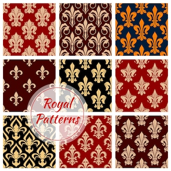 Königliche blumen dekorative musterhintergründe. luxuriöse kaiserliche ornamente und klassische innentapeten mit vintage-dekoration