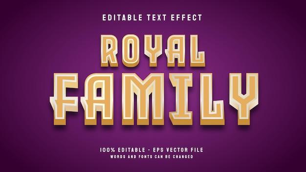 Königliche familie 3d letzter bearbeitbarer texteffekt mit goldbrauner farbvektorvorlage