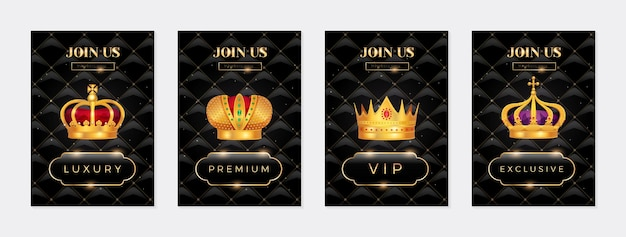 Königliche goldene kronen-banner-set