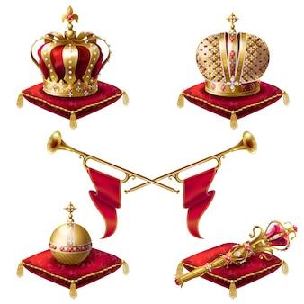Königliche kronen, zepter und kugel realistisch