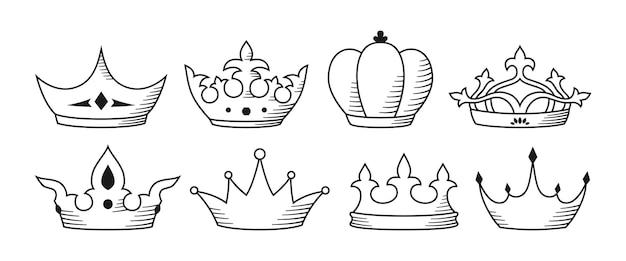 Königliche kronenzeichenlinie luxusset königsymbol