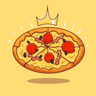 Königliche lange quadratische speck-sandwich-cartoon-vektor-symbol-illustration