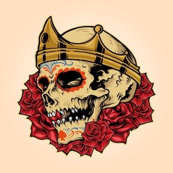 Königliche schädel-könig-krone mit rose illustrations-vektor-maskottchen-logo