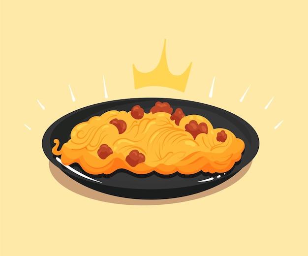 Königliche spaghetti mit fleischbällchenkarikaturvektorikonenillustration
