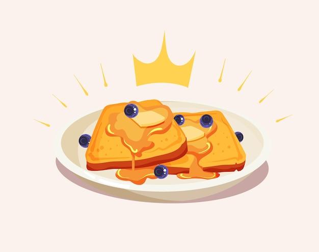 Königliche waffeln toast mit honigsirup cartoon vektor icon illustration