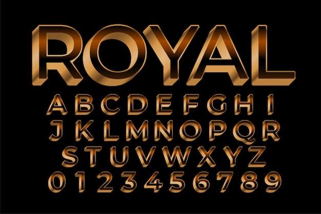 Königlicher goldener premium-texteffekt im 3d-stil