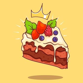 Königlicher schokoladenkuchen mit beerenkarikaturvektorikonenillustration