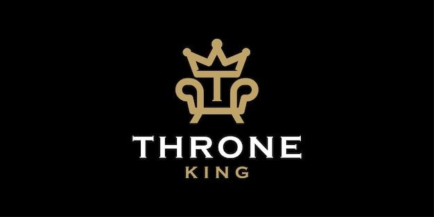 Königlicher stuhl mit anfänglichem t und krone für das thronlogo
