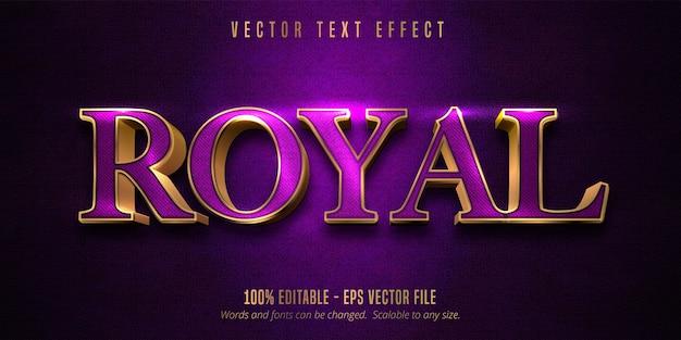 Königlicher text, lila farbe und bearbeitbarer texteffekt im glänzenden goldstil