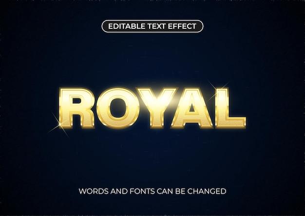 Königlicher texteffekt. bearbeitbarer goldener text mit glänzender blendung auf dunklem hintergrund