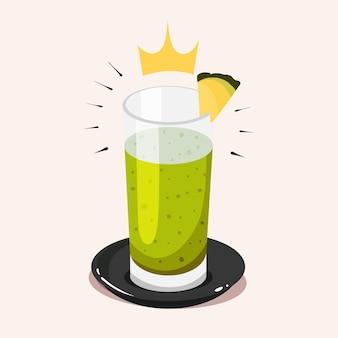 Königliches frühstück obst gemüse grüner cocktail smoothie cartoon vektor icon illustration