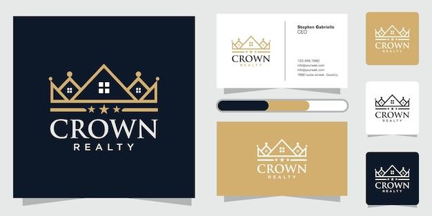 Königliches hauslinienlogodesign kreatives einzigartiges konzeptlogo und visitenkarte
