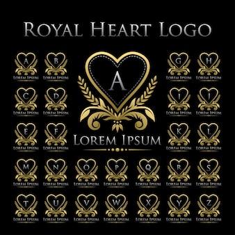 Königliches herz logo icon with alphabet set