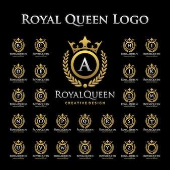 Königliches königin-logo im alphabetischen satz