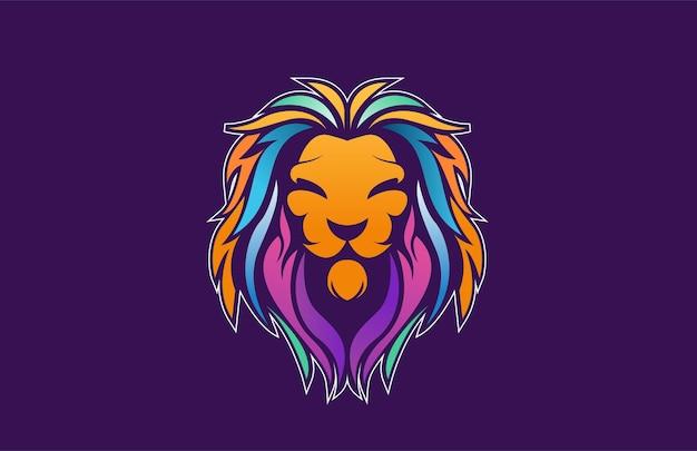 Königliches löwenlogo mit farbverlauf
