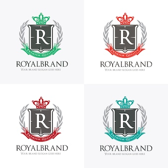 Königliches logo mit krone, kranz und schild symbol