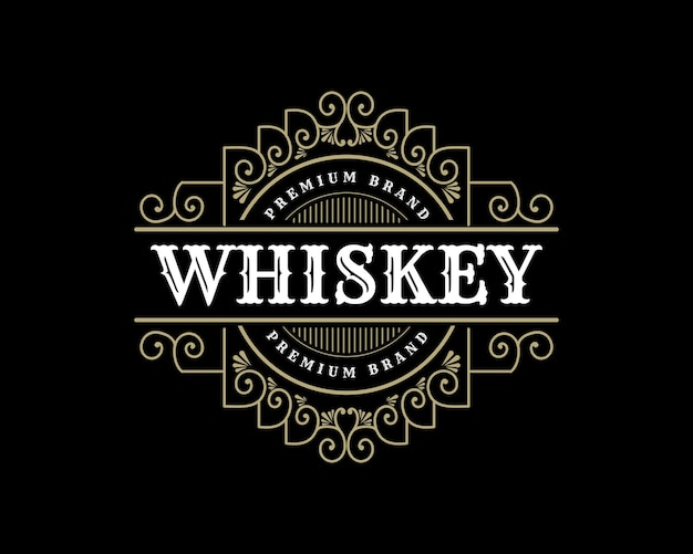 Königliches luxus-vintage-logo-abzeichen für handgefertigte bierbrauerei-whisky- und alkoholische getränkemarken