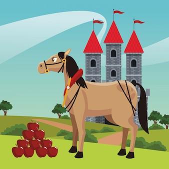 Königreich schloss mit pferd
