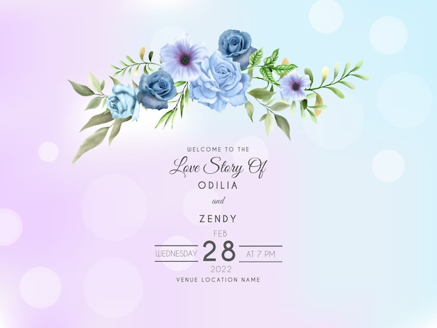 Königsblaue rose hand gezeichnete hochzeitseinladungskartenschablone