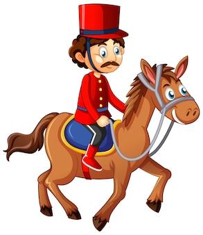 Königsmann reitet pferd zeichentrickfigur