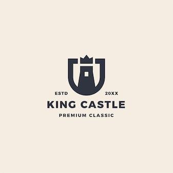Königsschloss-logo mit krähen- und schildemblem