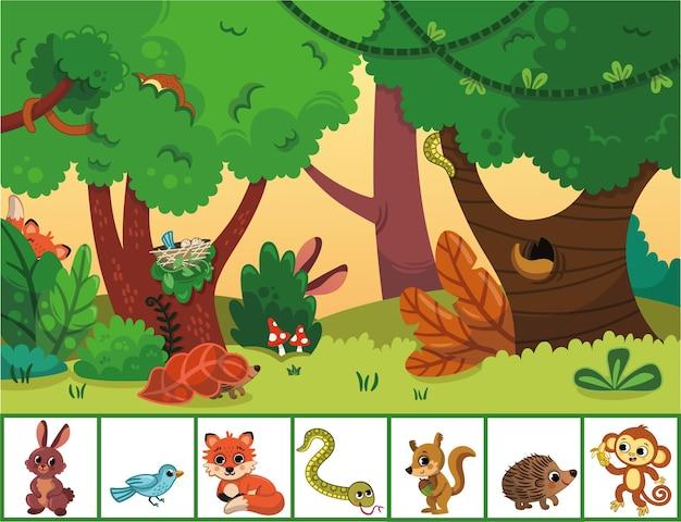 Können sie die im wald versteckten tiere finden lernspiel für kinder vektor-illustration?