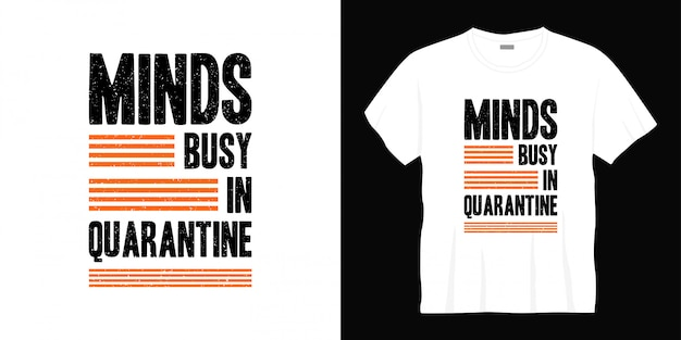 Köpfe beschäftigt in quarantäne typografie t-shirt design.