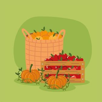 Körbe mit früchten Premium Vektoren