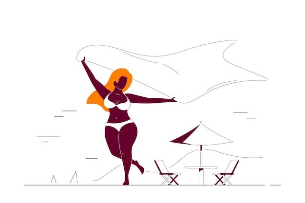 Körper positiv, plus größe schwarzafrikanerin, die mit schal am strand läuft. sommerferien, selbstakzeptanzkonzept. flache art strichzeichnungen illustration.