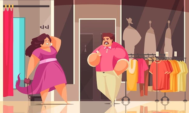 Körper positive einkaufskomposition zwei in einem plus-size-laden und sie sieht toll aus in neuer kleidungsillustration