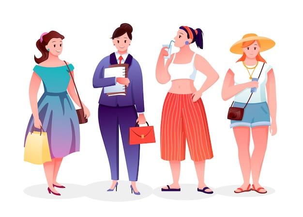 Körper positive fette mode mädchen gesetzt. karikatur plus größe junge frau, die freizeitkleidung trägt