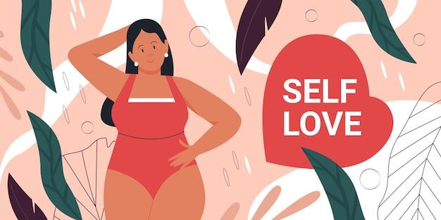 Körper positives bewegungskonzept glückliche frau plus weibliche figur der größe im badeanzug