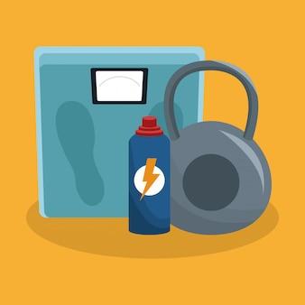 Körperbalance mit kettlebell und thermo
