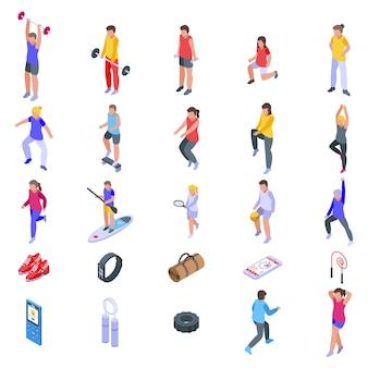 Körperliche aktivität eingestellt. isometrischer satz der körperlichen aktivität für webdesign lokalisiert auf weißem hintergrund