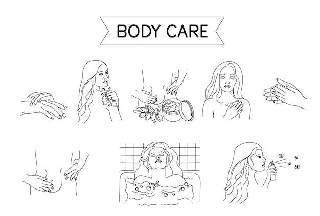 Körperpflege-set für spa-salon-öko-kosmetik-vektorsymbole im skizzenstilmädchen wäscht sich in der dusche