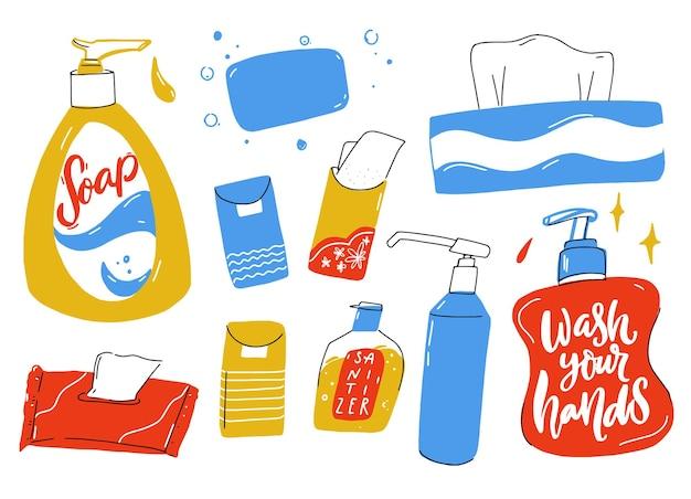 Körperpflegeset flüssigseifenflasche mit spender desinfektionsmittel feuchttücher und papierhandtuchbox Premium Vektoren